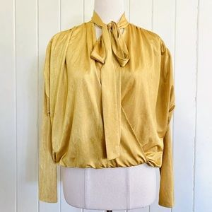 🌱 ZARA Sz S Mustard Yellow Gold Faux-wrap Blouse